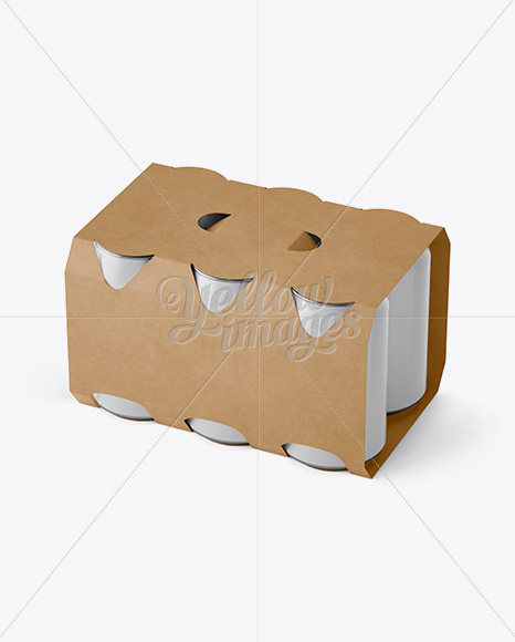 Carton 6 Pack 0.33L Cans Carrier Mockup - Halfside View (High-Angle Shot)