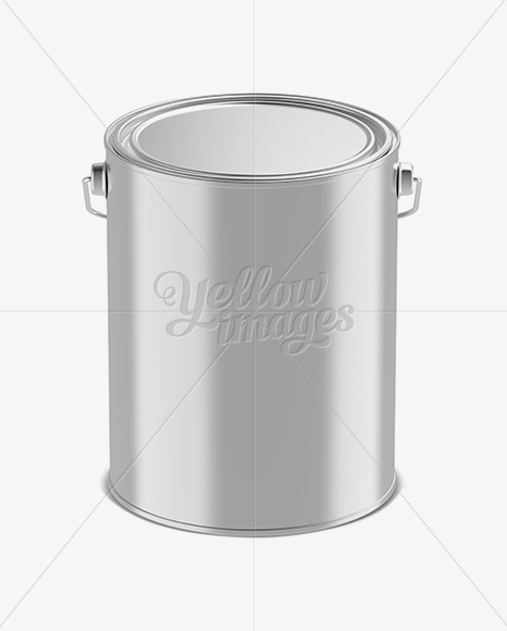 5L Metallic Paint Bucket Mockup - Front View (High-Angle Shot)