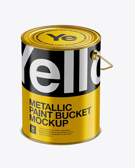 5L Metallic Paint Bucket Mockup - Halfside View (High-Angle Shot)
