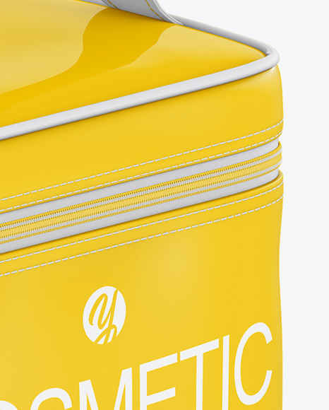 Glossy Cosmetic Bag Mockup - Half Side View