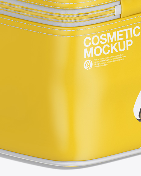 Glossy Cosmetic Bag Mockup - Back Half Side View
