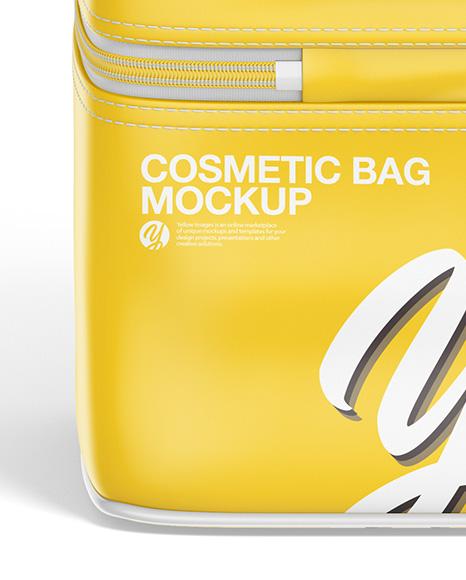 Glossy Cosmetic Bag Mockup - Back View (High-Angle Shot)