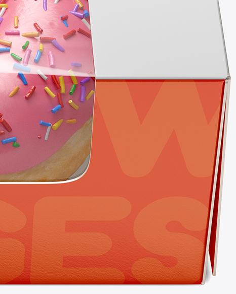 Box W Donut Mockup Front View High Angle Shot In Box Mockups
