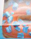 Box W/ Donut Mockup - Front View (High Angle Shot)