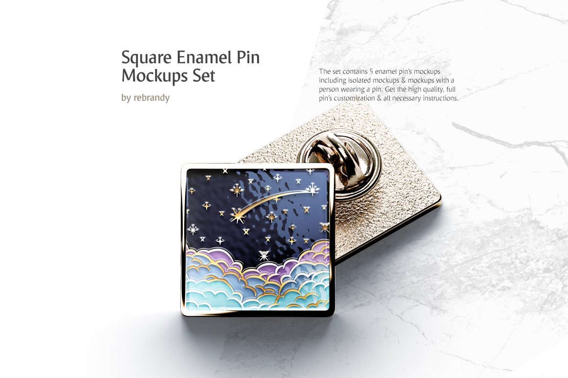 Square Enamel Pin Mockups Set in Stationery Mockups on
