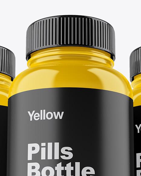 Three Glossy Pills Bottles Mockup - Front View (Hero Shot)