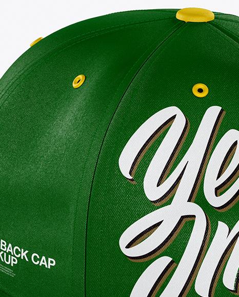 Snapback Cap Mockup - Back Half Side View