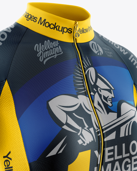 Women's Full-Zip Cycling Jersey Mockup - Half Side View