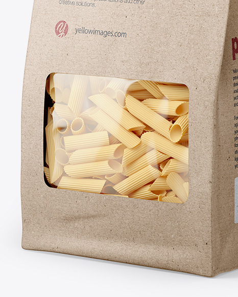 Kraft Bag with Pennette Rigate Pasta Mockup - Half Side View