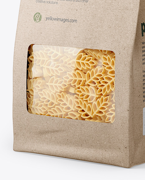 Kraft Bag with Spighe Pasta Mockup - Half Side View