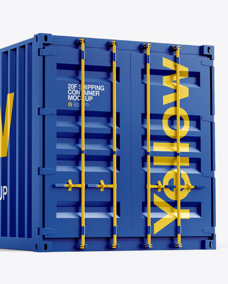 20F Shipping Container Mockup - Half Side View