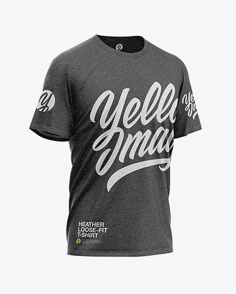 Download Mens Heather Loose Fit T Shirt Mockup Back Half Side View Yellow Images