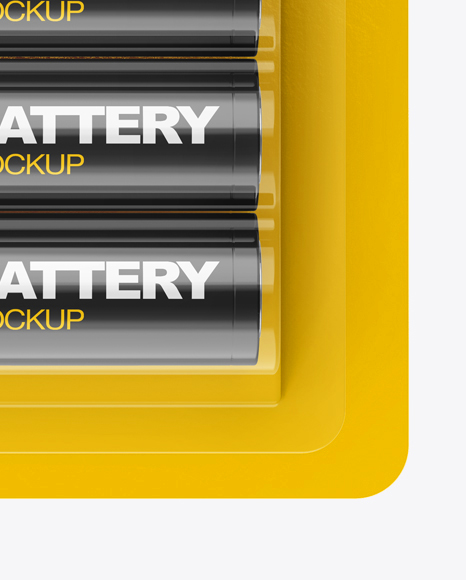 Download 4 Pack Battery Aa Mockup In Packaging Mockups On Yellow Images Object Mockups PSD Mockup Templates