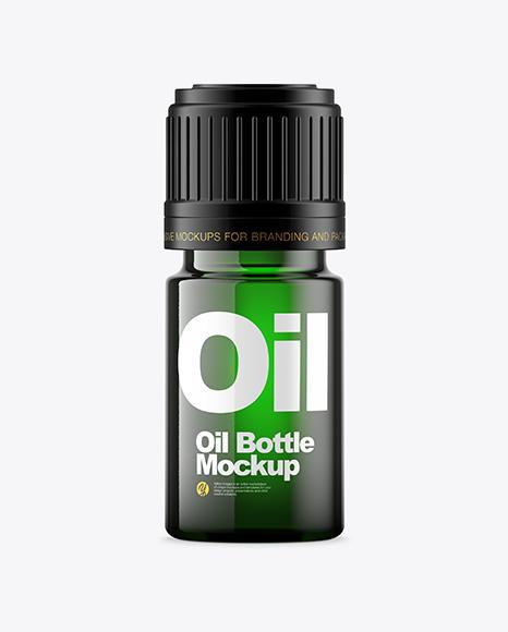 Green Glass Oil Bottle Mockup