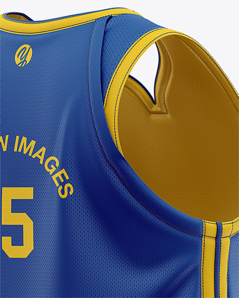 Men's Basketball Jersey Mockup - Back Half Side View