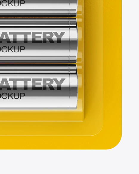 Download 4 Pack Metallic Battery Aa Mockup In Packaging Mockups On Yellow Images Object Mockups PSD Mockup Templates