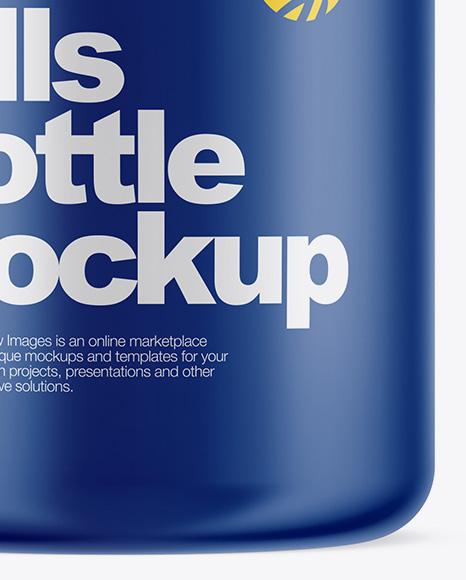Matte Pills Bottle With Shrink Sleeve Mockup