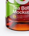 10oz Tea Bottle in Shrink Sleeve with Condensation Mockup - Front View (High-Angle Shot)