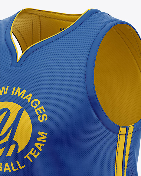 Men's Basketball Jersey Mockup - Front Half Side View