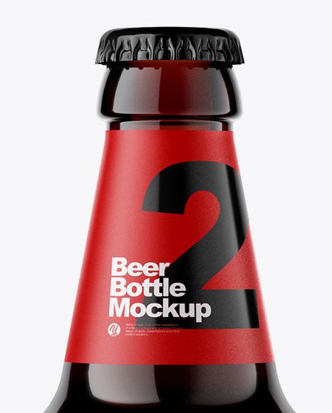 Amber Glass Bottle With Dark Beer Mockup