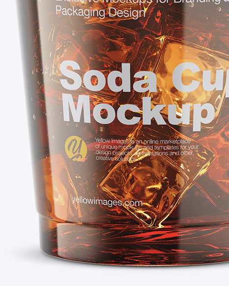 Transparent Plastic Soda Cup With Ice and Cap Mockup