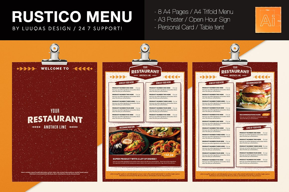 Rustico Menu Illustrator Template