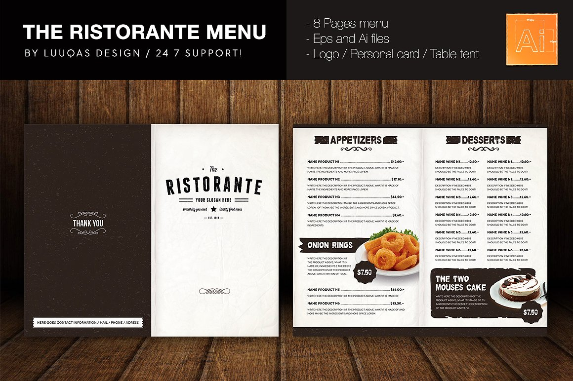 The Ristorante Menu