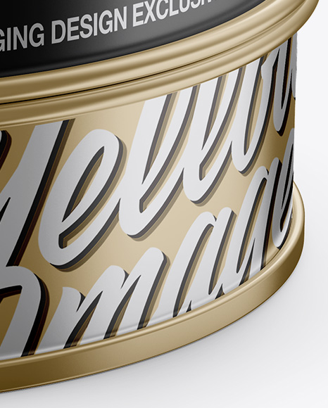 Metallic Round Tin Box Mockup - Front View (High-Angle Shot)
