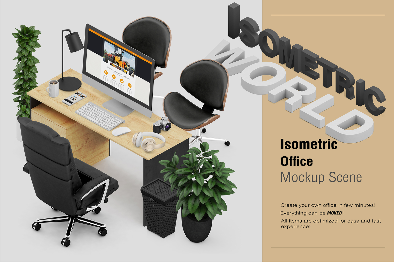 Isometric Office Scene Mock Up In Product Mockups On Yellow