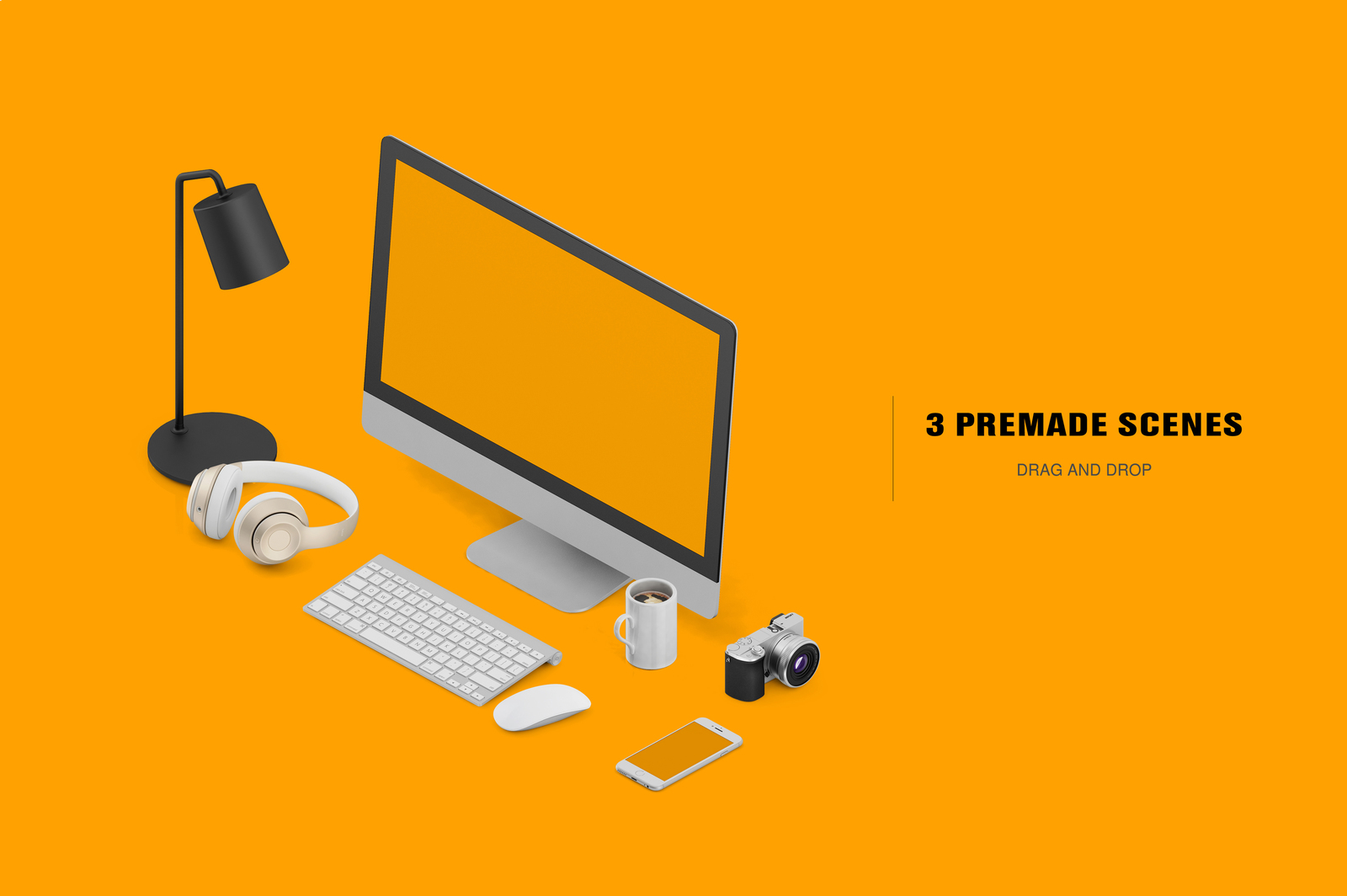 Isometric Office Scene Mock Up In Product Mockups On Yellow Images