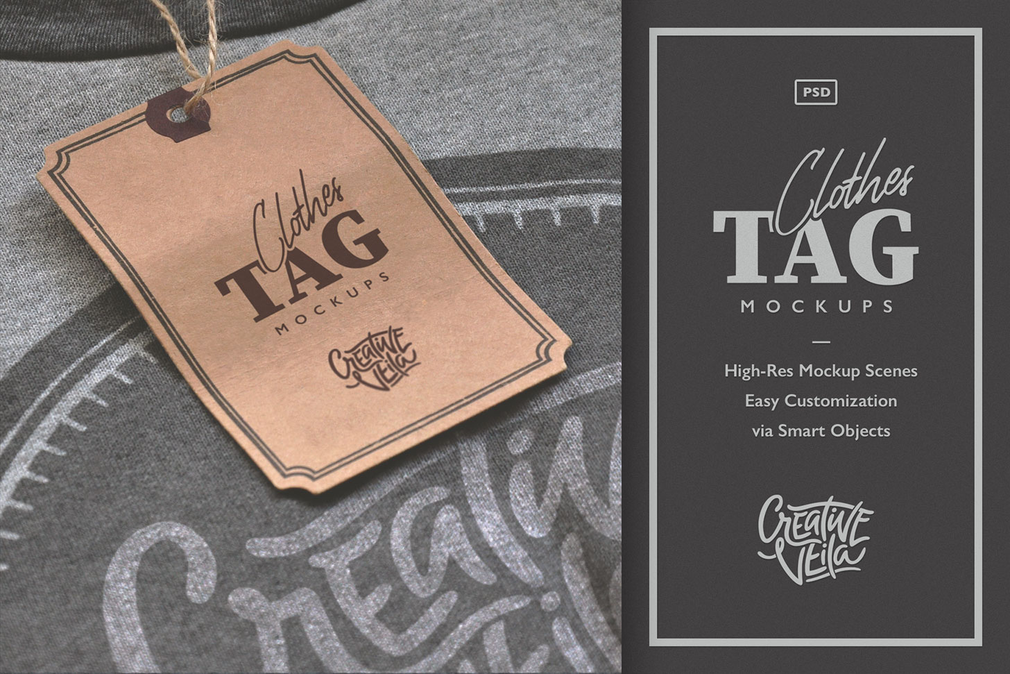 Download Clothes Tag Psd Mockups In Apparel Mockups On Yellow Images Creative Store PSD Mockup Templates
