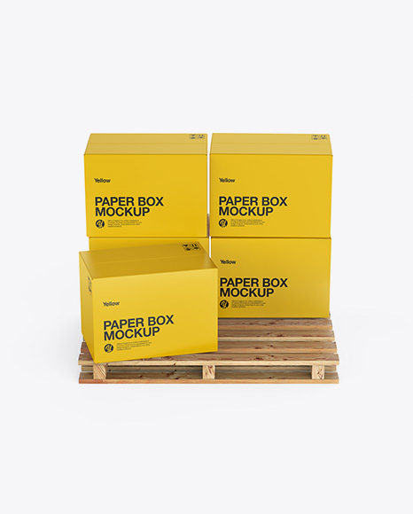 Wooden Pallet With 5 Paper Boxes Mockup - Front View