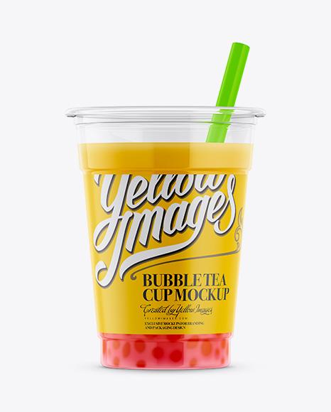 Mango Bubble Tea Cup Mockup