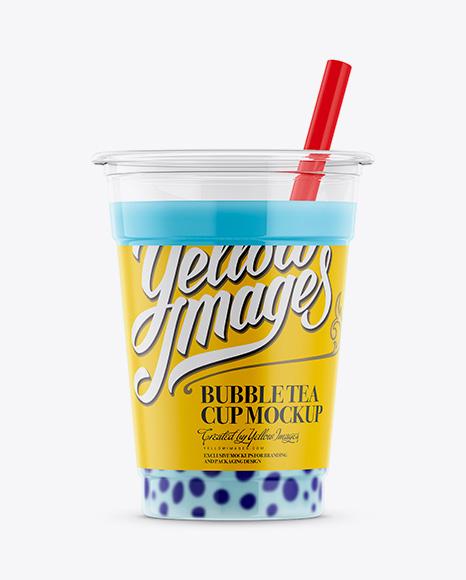 Blue Raspberry Bubble Tea Cup Mockup