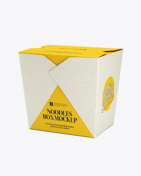Download Noodles Box Mockup Half Side View In Box Mockups On Yellow Images Object Mockups