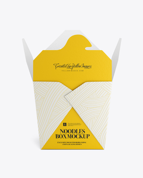 Download Opened Noodles Box Mockup In Box Mockups On Yellow Images Object Mockups PSD Mockup Templates