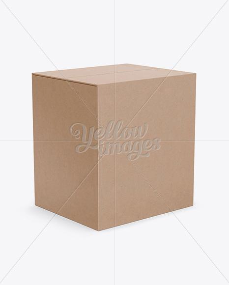 Kraft Paper Box Mockup - Half-Side View (High Angle Shot)