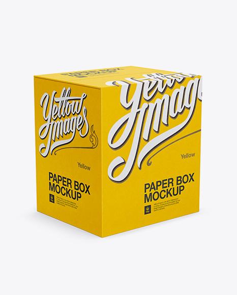 Paper Box Mockup - Half-Side View (High Angle Shot)