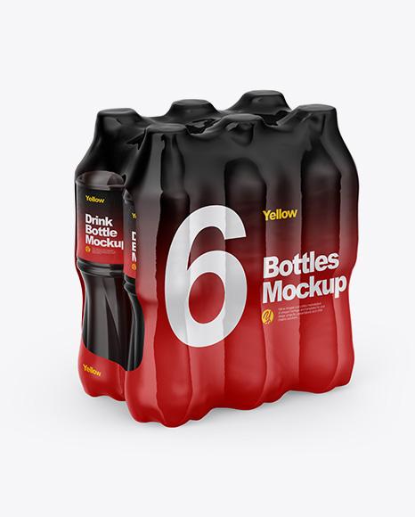 Transparent Shrink Pack with 6 Plastic Bottles With Cola Mockup - Half Side View