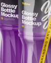 Transparent Shrink Pack with 6 Plastic Glossy Bottles Mockup - Half Side View