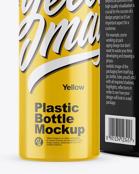 Glossy Plastic Bottle w/ Paper Box Mockup