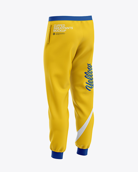 Men's Cuffed Sweatpants Mockup - Back Right Half-Side View