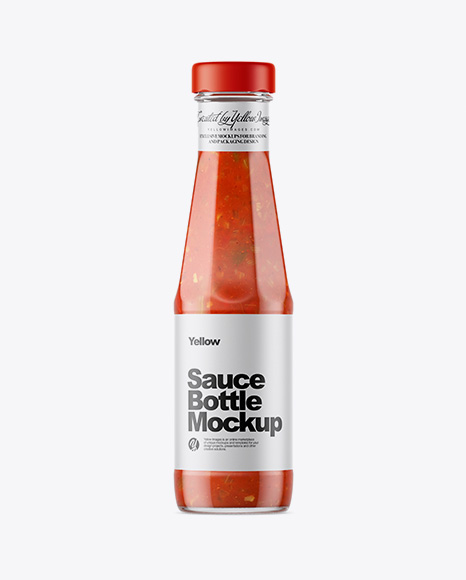 Clear Glass Bottle with Taco Sauce Mockup