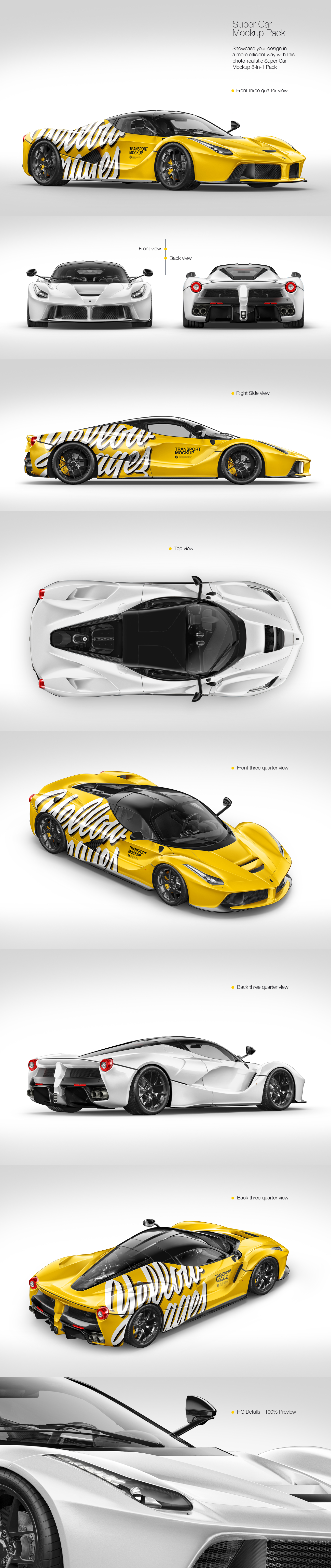 Download Super Car Mockup Pack In Handpicked Sets Of Vehicles On Yellow Images Creative Store PSD Mockup Templates