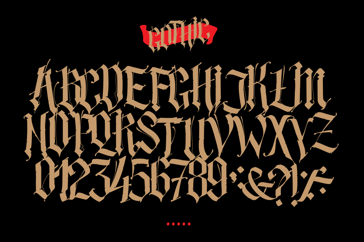 Full Latin alphabet in the Gothic style. Font Name Gothic Decodance. Vector.