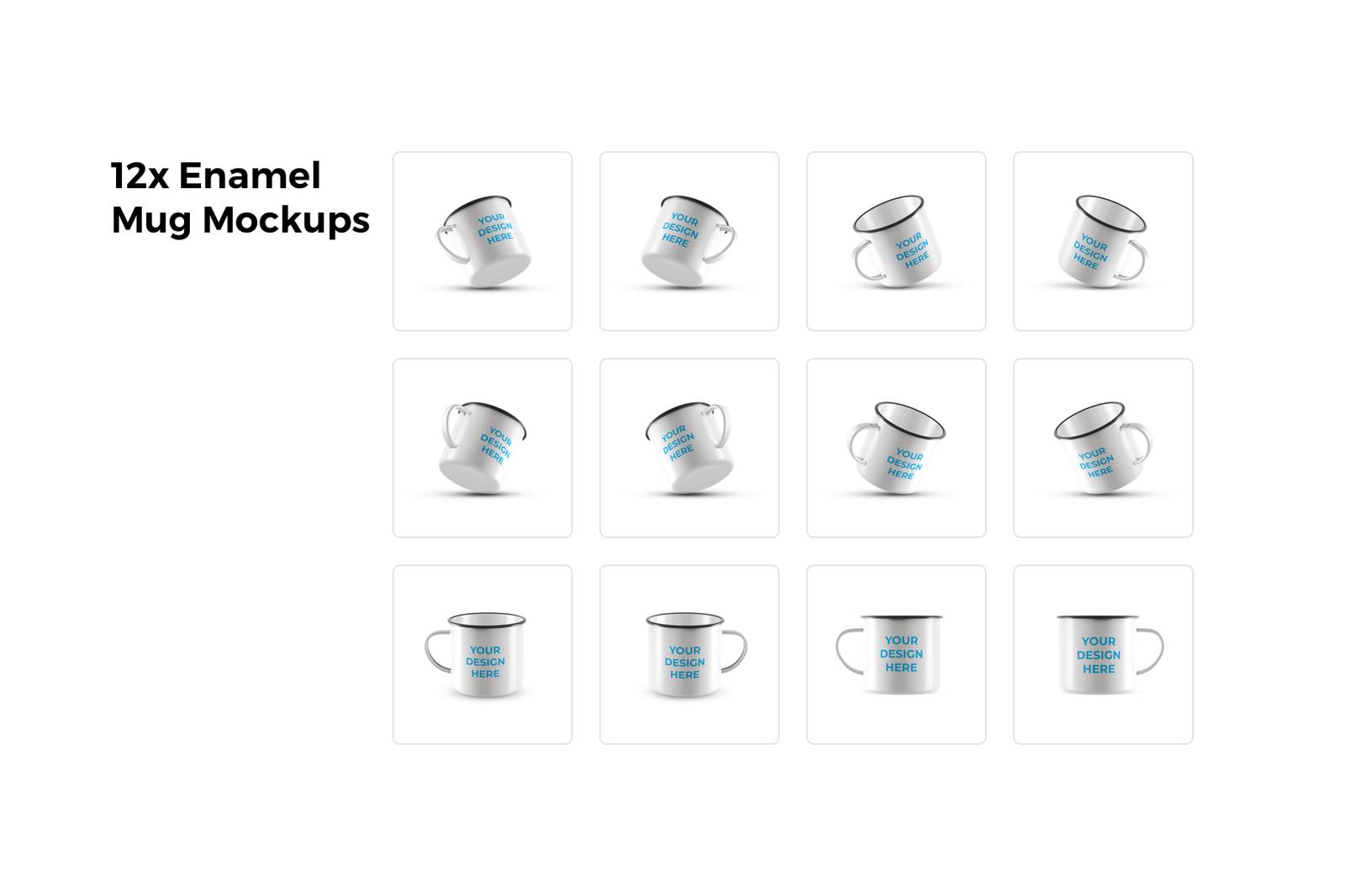 12x Enamel Mug Mockups