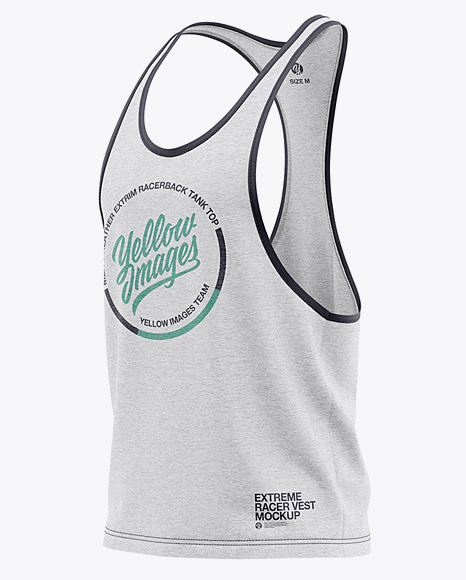 Download Mens Racer Back Tank Top Mockup Back View Yellow Images