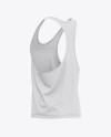 Men's Heather Racer-Back Tank Top Mockup - Back Half Side View