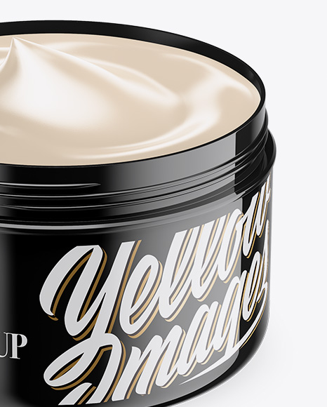 Opened Glossy Plastic Cosmetic Jar Mockup
