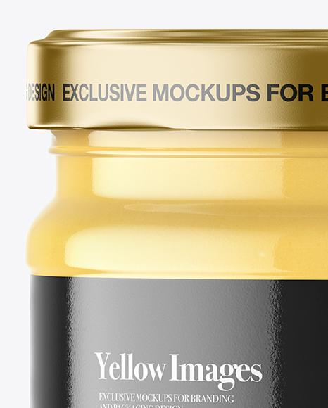 Clear Glass Cheese Sauce Jar Mockup
